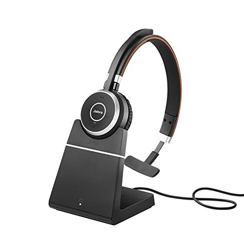 Jabra Evolve 65 Wireless Mono On-Ear Headset - Unified Communications Kopfhörer mit langer Akkulaufzeit und Ladestation - USB Bluetooth Adapter - schwarz