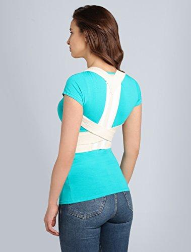 ®BeFit24 Schultergurt Haltungskorrektur für Damen und Herren - Geradehalter für Rücken Schulter - Rückenstabilisator - Haltungstrainer - Back Support Posture Corrector [ Size 0 - Crème ]