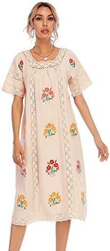 R Vivimos Women Short Sleeve Summer Floral Embroidery Lace Hollow Out Bohemian Cotton Linen product image