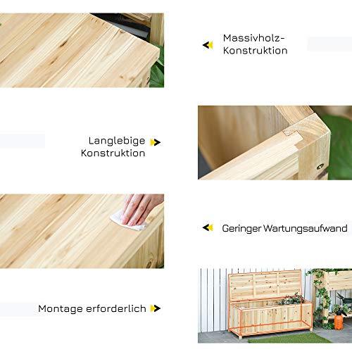 Outsunny Gartenbank mit Stauraum Truhenbank Sitzbank 2-Sitzer 250 kg Belastbarkeit Natur Tanneholz 115 x 45 x 75 cm - 4