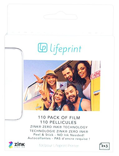 Lifeprint 110 pack of film for Lifeprint Augmented Reality Photo AND Video Printer. 2x3 Zero Ink sticky backed film