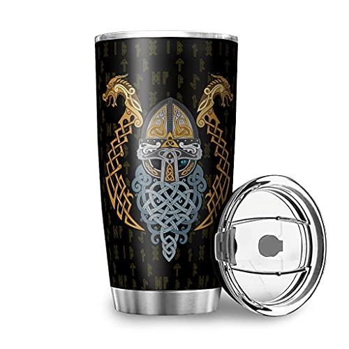 Dessionop Botella de agua vikinga Odin guerrero dragón Fathurk impresión coche taza taza 20oz antigoteo tapa blanco 600 ml