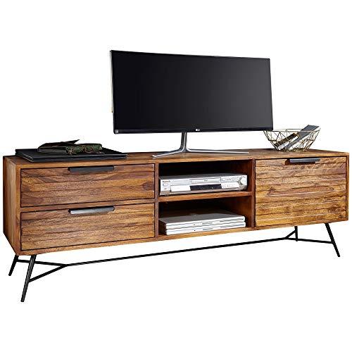 FineBuy Lowboard Nasha 160x54x40 cm Sheesham Massiv Holz | Design HiFi-Board mit Stauraum und Schubladen | Massivholz Fernsehschrank Wohnzimmer | Industrial Fernsehkommode mit Metallbeinen