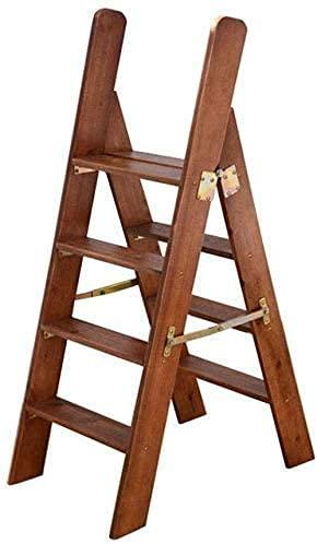 LJWJ Escalera Telescópica Escalera de Mano Plegable Portátil, Escalones Plegables Escaleras de Madera de 4 Escalones Ligera con Pasamanos Escalera de Taburete Plegable