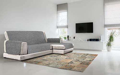 Cubierta de sofá Anti-Deslizamiento Confort con chaiselongue,290 cm, Gris Oscuro
