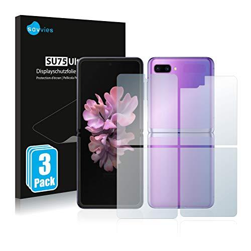 Savvies 6X Schutzfolie kompatibel mit Samsung Galaxy Z Flip / 5G (Vorder + Rückseite) Bildschirmschutz-Folie Ultra-transparent