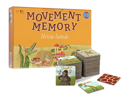 Movement Memory Game for Toddlers amp Kids – Educational Matching Game w/ African Animals  Memory Card Game with 28 Sets  Memorize and Match  Exercise amp Improve Memory Focus amp concentration