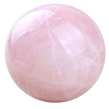 banshren Natural Carved 50mm Pink Rose Quartz Sphere Ball Healing Crystals