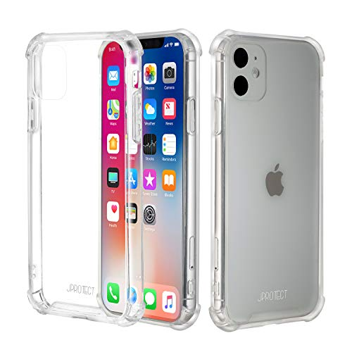 JProtect Hülle für iPhone 11 Shockproof Bumper   Transparentes Stoßsicheres TPU   Perfekte Passform   case Cover Schutzhülle   Unterstützt Kabelloses Laden  