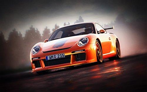 Kunst Druck Bild Porsche 911 Ruf Regen Abend Nässe Romantik Leinwand Poster Tapete Mousepad...