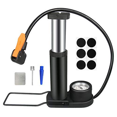 GESPERT Mini Luftpumpe universale Fußpumpe [160 PSI] tragbare Fahrradpumpe für Reifen mit Presta- und Schrader-Ventil oder Fußball, Basketball, Schwimmring