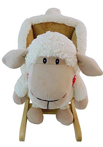 Bieco Plüsch Schaukeltier Schaf 61x33x48cm | Schaukelpferd Baby | Schaukeltier Baby | Kinderschaukel Indoor | Baby Wippe | Baby Schaukel | Schaukelpferd ab 1 Jahr | Schaukel Baby Spielzeug