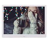 HLY Trading Moda 15.6 Pulgadas Marco LED táctil IPS HD de Control Digital Multimedia Foto Música Video Foto visualización del Calendario del Reloj del E-Libro Marco Digital (Color : White)