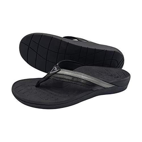 V.Step Orthotic Flip Flops - High Arch Support Women Men Thong Sandals for Comfortable Walk Plantar Fasciitis Flat Feet Heel Pain, Black (Men Size 5/37 & Women Size 6/37)