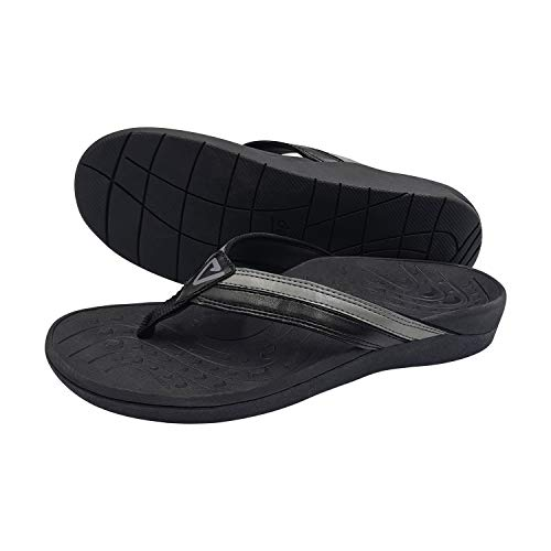 V.Step Orthotic Flip Flops - High Arch Support Women Men Thong Sandals for Comfortable Walk Plantar Fasciitis Flat Feet Heel Pain, Black (Men Size 9/41 & Women Size 10/41)