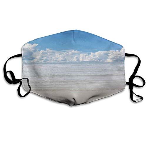 Cómoda máscara de carbón activado, vista mágica del mar al cielo con nubes naturaleza playa exótica en el sur de Asia paraíso, decoraciones faciales impresas para adultos