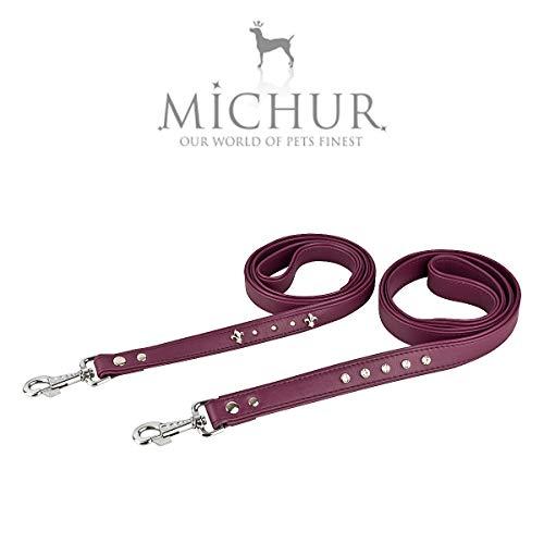 MICHUR Chloe` LEONE, hondenleider, lederen hondenriem, passend bij de ketting Chloe`, paars, LEATHER, zeer nobel met veel strass steentjes, Size (approx.) 47,24 x 1,18