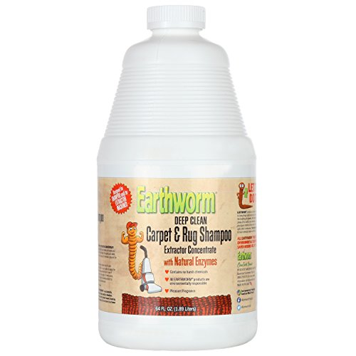 Earthworm Deep Clean Carpet & Rug Shampoo Extractor Concentrate - Natural Enzymes, Safer for Family, Environmentally Responsible - 64 Oz