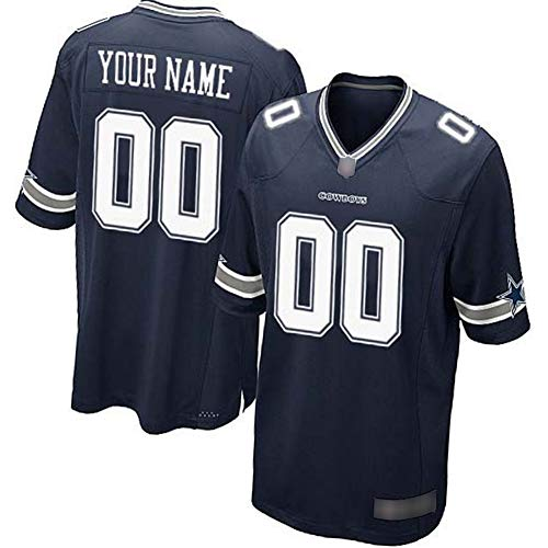 NCNC Camisetas de fútbol Bordadas para Hombres Dallas Cowboys, Nombre y número Personalizados, Camiseta de fútbol Americano, versión para fanáticos de la Ropa Deportiva (S-4XL)-Tibetanblue-2XL