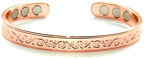 Origin Large Copper Bracelet for Arthritis; Magnetic Bio Therapy (6 Magnets Embedded); SCB667L Large Beautiful Classic Design; Commonly Worn for Pain Relie
