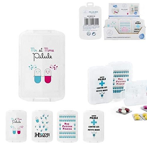 Les Colis Noirs LCN - Pilulier 10 Compartiments - Modèle Aléatoire - Boite Pilule Médicament Organisation - 055