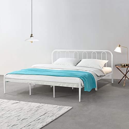 [en.casa] Metallbett 180 x 200cm Weiß Stahlrahmen Doppelbett Ehebett Bettgestell