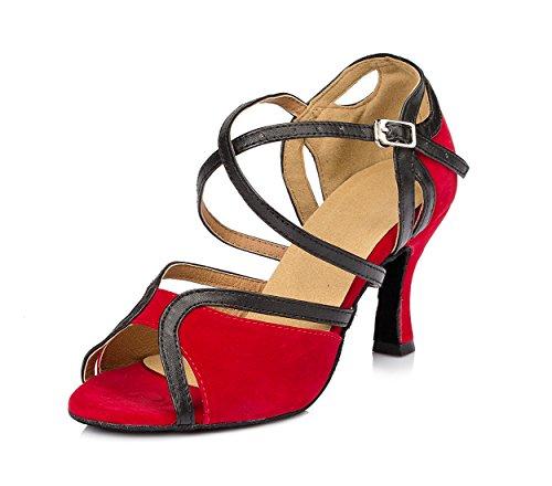 URVIP Nowości damskie buty flanelowe do sali balowej, nowoczesne buty latynoskie z paskiem na kostkę, buty do tańca LD022, czerwony - czerwony - 37 eu