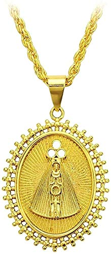 CXYCXY Co.,ltd Necklace Oval Necklace Gold Color Necklace with Catholic Pendant Jewelry 50 cm