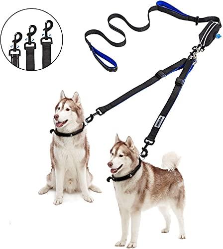 YOUTHINK Doppelleine Hundeleine für 2 Hunde Keine Verwicklung Reflektierend Hundeleine Doppelte Gepolsterte Griffe Verstellbar Splitterleinen, mit kotbeutelspender für Hunde bis zu 132 lbs