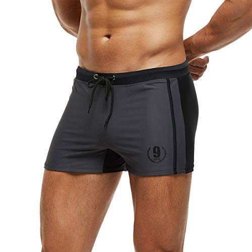 Arcweg Costume da Bagno Uomo Coulisse Pantaloncini Calzoncini da Bagno Elastico a Vita Bassa Boxershorts Slip Nuoto Spiaggia Mare Piscina Grigio XL