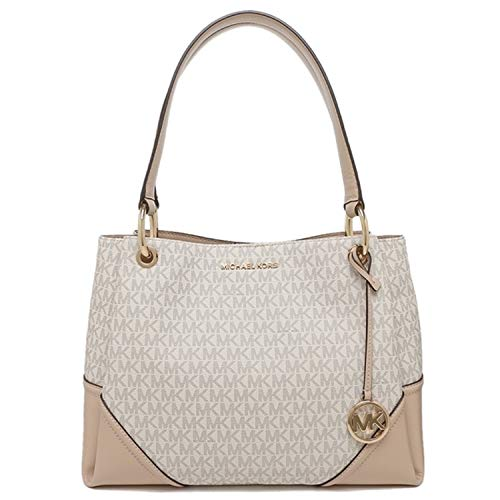 Michael Kors Women's Nicole Large Shoulder Bag Tote Purse Handbag (Vanilla Multi)