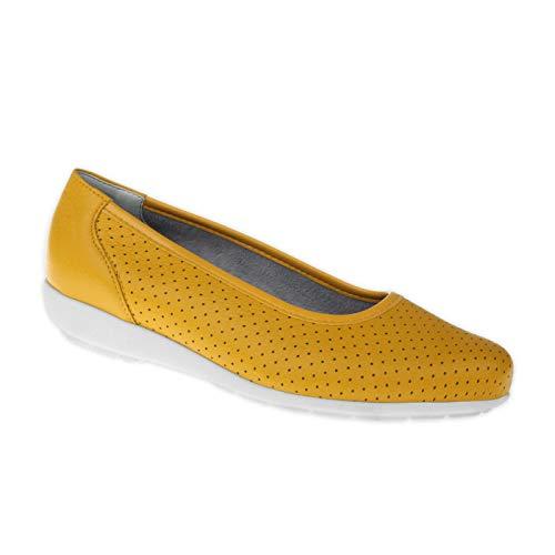 Natural Feet Damen Ballerina Annabelle | Echtes Hirschleder | Weite H | Hallux geeignet 39 gelb