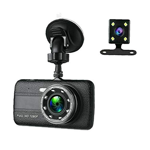 Ohomr Dash cámara de la Leva para los Coches de conducción del vehículo Coche DVR cámara de Doble Lente G-Sensor de Alta Definición 1080p Negro