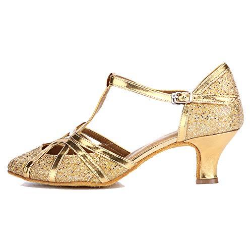 YKXLM Mujeres&Niña Zapatos Latinos de Baile Zapatillas de Baile de salón Salsa Tango Performance Calzado de Danza,ES511-5,Oro Color,EU 37.5