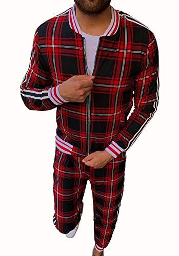 HUSHION Chaqueta de chándal atlético de Tela Escocesa para Hombre Chaqueta de Collar + Pantalones con Cremallera con Cremallera Red-XXXL
