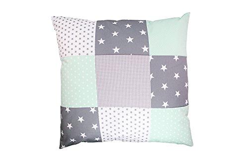 ULLENBOOM ® Patchwork Kissenbezug Mint Grau (60x60 cm Kissenhülle, 100% Baumwolle, ideal als Dekokissen, Kinderzimmer Zierkissen, Motiv: Sterne)