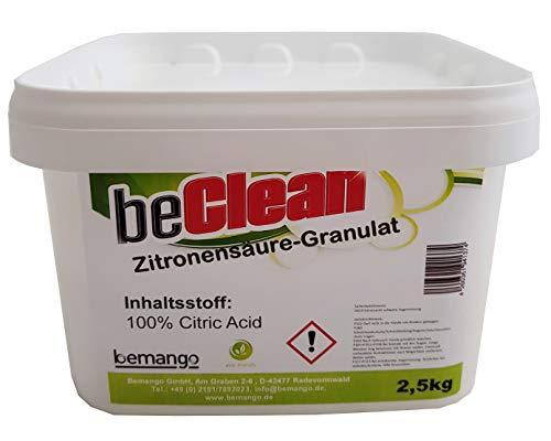 beClean Entkalker Zitronensäure Granulat E-330 Citric Acid 2,5 kg