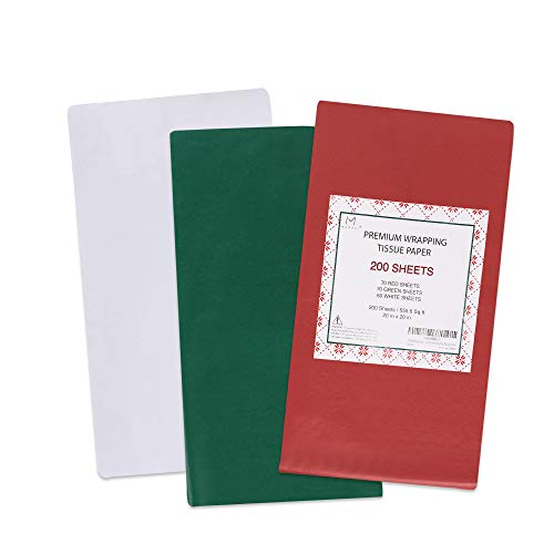 MOMONI Premium 200 Sheets 20in x 20in Christmas Tissue Paper Bulk (Red, Green, White) for Christmas Wrapping for Gifts, Wine Bottles, and Decorations.