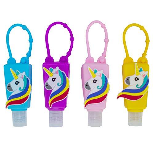 Botellas de Viaje Portátiles para niños, Dispensadores vacíos de 30 mL para Rellenar Desinfectantes de Manos, Champús, Accesorio de Viaje para Niños – (Unicornio2, 4 PCS)