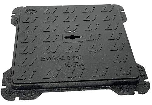 Cierres de hierro fundido clase B125, Tombino con marco certificado UNI EN124-1/2 (30 x 30 cm)