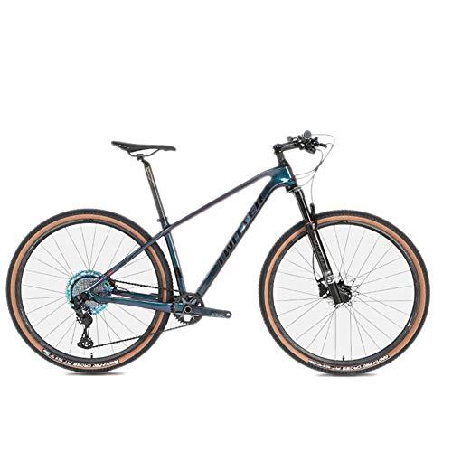 BIKERISK MTB Bicicleta de Fibra de Carbono Bicicleta de montaña Guerrero Freno de Disco de Aceite de 12 velocidades Bicicleta de montaña Bicicleta para Adultos,Negro,27.5 * 15