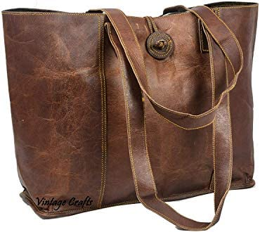 Vintage Genuine Leather Tote Bag Handbag Shopper Purse Shoulder Bag for Women Office Laptop product image