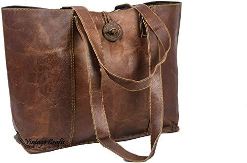 Vintage Genuine Leather Tote Bag Handbag Shopper Purse Shoulder Bag for Women Office Laptop Bag