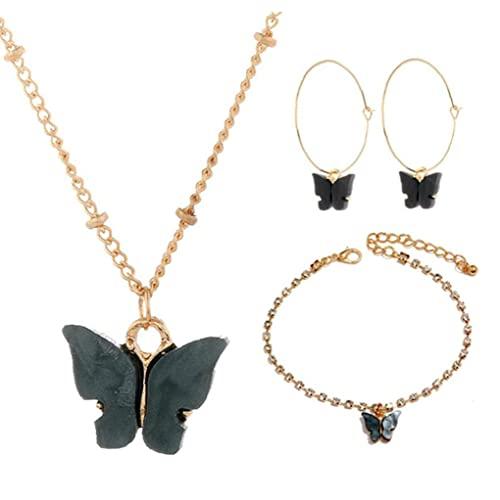 Collar Pendientes Pendientes Set Mariposa Acrílico Colgante Joyería Ajustable Juego para Mujeres, Juego de Joyas para Mujeres