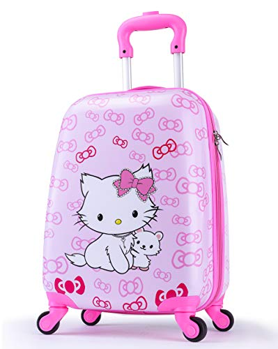 Upgrade Kids Luggage for Girls, Toddler Travel Suitcase, 4-Spinner Wheels, Superior ABS+PC, Hardshell, Carry On Trolley (Cute Bowknot Cat/ Pink)