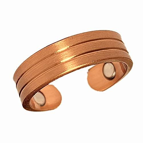 - Anillo de cobre magnetismo para artritis, túnel carpiano y alivio del dolor en las articulaciones, tamaño ajustable para hombres y mujeres..