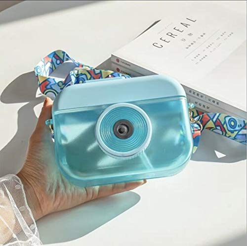 Taza de agua de plástico creativa de verano de 400 ml, conveniente para las niñas al aire libre rectangular de gran capacidad, taza de agua de la cámara linda (azul)