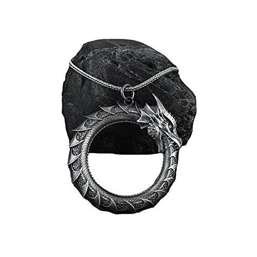 Collar Vikingo Estaño Puro para Hombre, Colgante Amuleto Tótem Serpiente Dragón Nórdico Retro Punk Hecho a Mano con Cadena de Acero de Titanio, Joyería Pagana Medieval