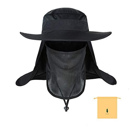 Chapeau de peche Chapeau de Soleil Homme Bonnet de peche Pliable Femme Chapeau de Soleil Leger a Sechage Rapide, Noir ou Gris