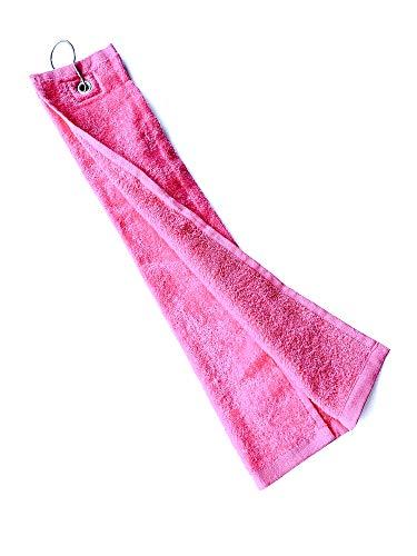 Golfzentrale Golf und Sport Handtuch, Golfbag Zubehör, Handtuch aus saugfähiger Mikrofaser, rosa/pink, perfekte Größe, 50x30cm, 1 Stück, mit Clip